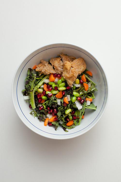 Mizuna Salad w/ Chicken at Home (LEFTOVER$) - FESTIVUS