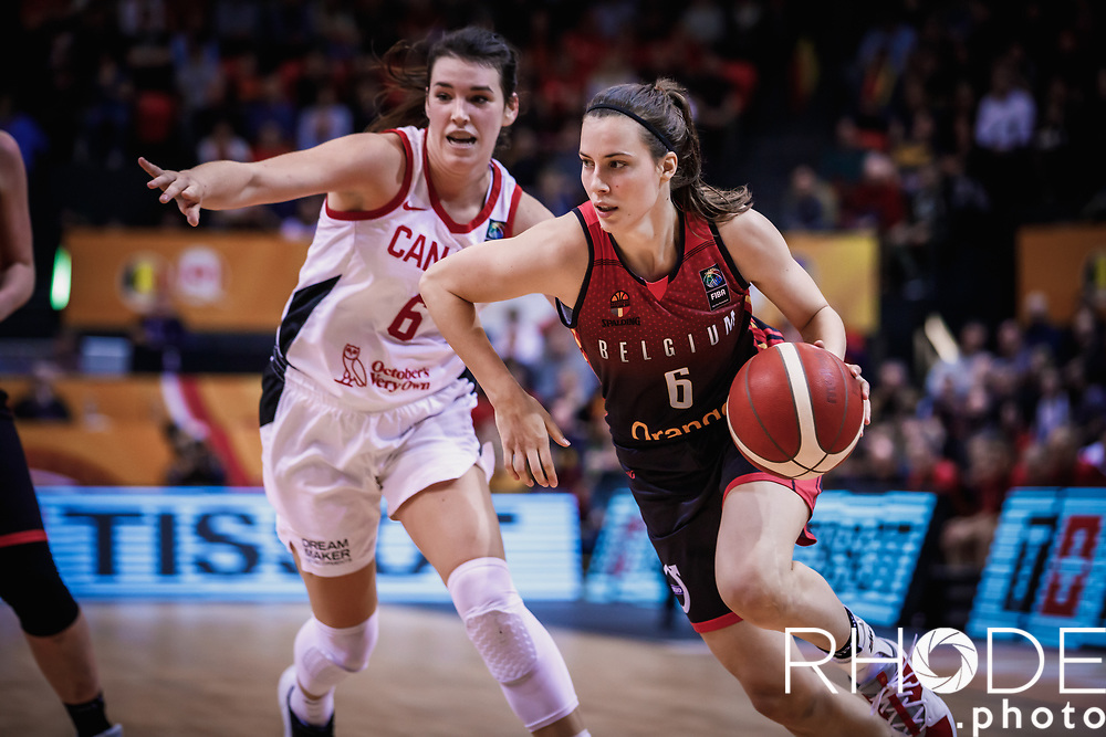 Antonia Delaere (BEL)<br /> <br /> Day 1 – CANADA (CAN) vs BELGIUM (BEL): 61-56<br /> <br /> FIBA Women's Olympic Qualifying Tournament 2020 – Ostend,  Belgium<br /> Ostend Versluys Dôme (BEL)<br /> <br /> ©RhodePhotoMedia