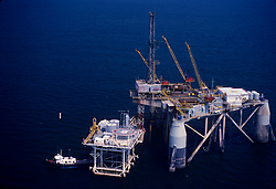 Stock photo of the aerial view of a semi subersible rig