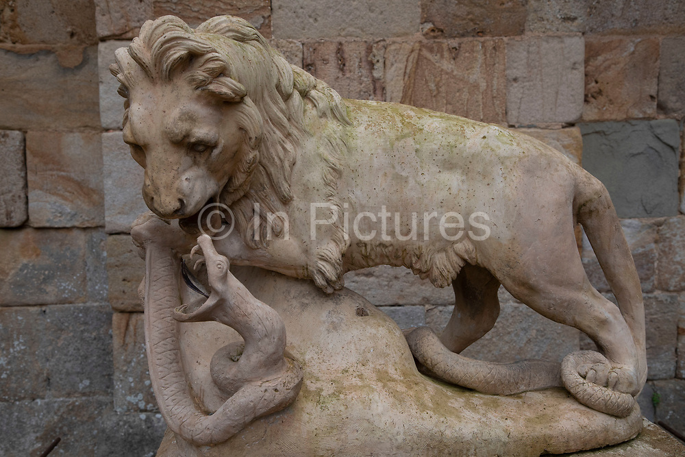 Lion sculpture at Fontfroide Abbey near Narbonne, France. Fontfroide Abbey is a former Cistercian monastery in France, situated 15 kilometers south-west of Narbonne. It was founded in 1093 by Aimery I, Viscount of Narbonne, but remained poor and obscure, and needed to be refounded by Ermengarde, Viscountess of Narbonne. The abbey fought together with Pope Innocent III against the heretical doctrine of the Cathars who lived in the region. It was dissolved in 1791 in the course of the French Revolution. The premises, which are of very great architectural interest, passed into private hands in 1908, when the artists Gustave and Madeleine Fayet dAndoque bought it to protect the fabric of the buildings from an American collector of sculpture. They restored it over a number of years and used it as a centre for artistic projects. It still remains in private hands. Today it is open to paying guests.