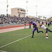Jack Dowling makes a touchdown catch for the Miyamura Patriots in first quarter against the Aztec Tigers, Friday August, 24, 2018 at Angelo DiPaolo Stadium in Gallup.