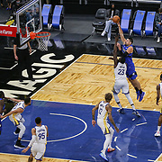 ORLANDO, FL - FEBRUARY 19:  Nkola Vucevic #9 of the Orlando Magic attempts a shot over Draymond Green #23 of the Golden State Warriors during the first half at Amway Center on February 19, 2021 in Orlando, Florida. NOTE TO USER: User expressly acknowledges and agrees that, by downloading and or using this photograph, User is consenting to the terms and conditions of the Getty Images License Agreement. (Photo by Alex Menendez/Getty Images)*** Local Caption *** Nkola Vucevic; Draymond Green
