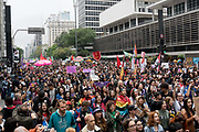 For the second week in a row, thousands of women and men took to the streets of Sao Paulo to protest against far right election candidate Jair Bolsonaro. The protests have been organised by feminist groups, under the name Mulheres contra fascismo / women against facism and mulheres contra Bolsonaro / Women against Bolsonaro. The hastag / banner - elenao is the unified slogan for the campaign, and has gained huge popularity in Brazil during the election run.