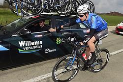 March 21, 2018 - La Panne, Belgique - DE PANNE, BELGIUM - MARCH 21 : VAN AERT Wout  (BEL)  of Veranda's Willems - Crelan and ELIJZEN Michiel  (NED) Ass. Sports Director of Veranda's Willems - Crelan pictured during the Driedaagse Brugge - De Panne cycling race with start in Brugge and finish in De Panne on March 21, 2018 in De Panne, Belgium, 21/03/2018 (Credit Image: © Panoramic via ZUMA Press)