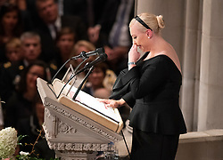 Meghan McCain speaks at the funeral service for the late United States Senator John S. McCain, III (Republican of Arizona) at the Washington National Cathedral in Washington, DC, USA on Saturday, September 1, 2018. Photo by Ron Sachs/CNP/ABACAPRESS.COM