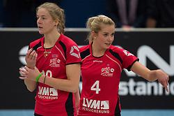 07-12-2014 GER: USC Muenster - Schweriner SC, Munster<br /> Ashley Benson (#10 Muenster), Tess von Piekartz (#4 Muenster) / Handzeichen<br /> <br /> ***NETHERLANDS ONLY***