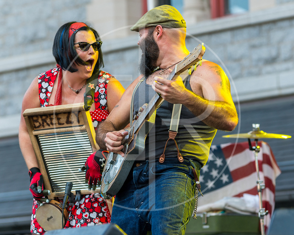 BALTIMORE United States - July 18, 2015: Reverend J. Peyton and Washboard Breezy Peyton of The Reverend Peyton's Big Damn Band perform on the Wells Fargo Stage at Artscape, located in Baltimore's Mount Royal Cultural Corridor
