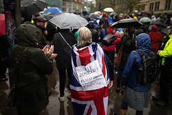 © Licensed to London News Pictures. 31/08/2019. Manchester, UK. RIP Democracy Union Flag cape . Thousands attend a pro EU demo in Manchester City Centre , with objections raised to the Prime Minister Boris Johnson's intention to prorogue Parliament in the run up to Britain's planned Brexit deadline . Photo credit: Joel Goodman/LNP
