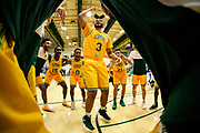 Vermont forward Anthony Lamb (3) pumps up the team in the huddle during the men's basketball game between the Yale Bulldogs and the Vermont Catamounts at Patrick Gym on Wednesday night November 21, 2018 in Burlington. (BRIAN JENKINS/for the FRESS PRESS)