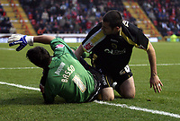 Photo: Mark Stephenson/Sportsbeat Images.<br /> Bristol City v Cardiff City. Coca Cola Championship. 15/12/2007.Cardiff's Steve Thompson goes in hard on Bristol's keeper Adriano Basso and is sent off
