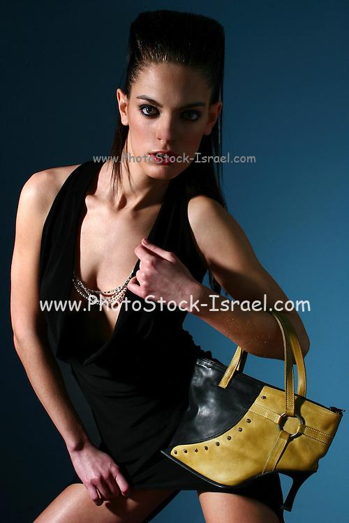 Female in her 20s full body black dress, studio