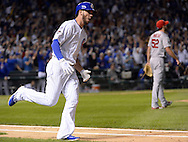 CHICAGO, IL - OCTOBER 12:  Kris Bryant #17 of the Chicago Cubs reacts after hitting a home run in the fifth inning during Game 3 of the NLDS against the St. Louis Cardinals at Wrigley Field on Monday, October 12, 2015 in Chicago , Illinois. (Photo by Ron Vesely/MLB Photos via Getty Images) *** Local Caption *** Kris Bryant