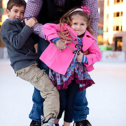 CitySkate at CityScape in downtown Phoenix, Arizona. The downtown ice skating rink is set up for the annual holiday season.