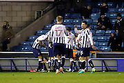 Millwall players celebrating scoring fourth goal 4-0 during the EFL Sky Bet League 1 match between Millwall and Bristol Rovers at The Den, London, England on 12 November 2016. Photo by Matthew Redman.