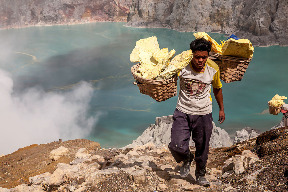 Sulphur Miner at Kawah Ijen, Java, Indonesia