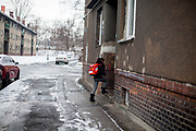 """Rachel Klemparova (9) after school getting home to her family in Ostrava. Rachel visits the 4th class at the """"Nadrazni"""" school in Ostrava where Roma and non Roma children are educated together."""