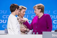 26 FEB 2018, BERLIN/GERMANY:<br /> Annegret Kramp-Karrenbauer (L), CDU, desig. Generalsekretaerin, Ursula von der Leyen (M), CDU, Bundesverteidigungsministerin, und Angela Merkel (R), CDU, Bundeskanzlerin, im Gespraech, CDU Bundesparteitag, Station Berlin<br /> IMAGE: 20180226-01-151<br /> KEYWORDS: Party Congress, Parteitag, Gespräch
