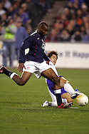 10 February 2006: Eddie Pope, of the United States, scores the games first goal in the 24th minute. The United States Men's National Team defeated Japan 3-2 at SBC Park in San Francisco, California in an International Friendly soccer match.