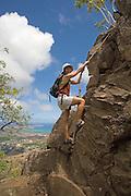 Hiking Mt. Olomana, Kailua Waimanalo, Windward oahu, Hawaii<br />