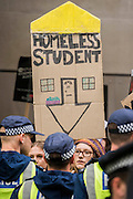 Outside the department for Business - A student march against fees and many other issues starts in Malet Street and heads for Westminster via the West End.