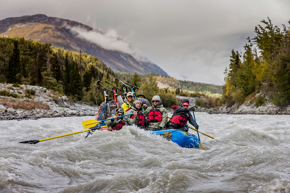 Darren Berrecloth, along with Wade Simmons, Tyler McCaul, Carson Storch and their guide Mike Neville paddle down the Tatshenshini River in the Tatshenshini-Alsek Provincial Park in British Columbia, Canada on September 6, 2016.