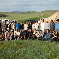 "L to R: (Standing:) Francis Allard, Tsel Ayush, Christie Leece, Erika Maggiore, Laura Short, Amra, Ulzii (Paula's asst. cook), Oyumaa (botanist for Muren), Paula dePriest, Oyunbileg (botanist), Jamsranjav Bayarsaikhan (""Bayaraa""), Batjargal Khadbaatar (""Khada""), Bajinnyam Tserennyam (""Tseeree"") (driver), Hatbaatar (Paula's driver), Tovuudorj Sanjmyatov (""Sasha""), Marion Sakura. (Seated: Adiyabold Namkhai (""Adiya""), Nick Wiltsie, Oyun Mendbayar (""Mende""), Tsogtbayar Tsolmon (""Tsoomoo""), Batbold Onolbaator (""Onoloo""), Francis's driver, Sosorbaram Tsogtgerel (""Tsogoo"") (driver), Dvaanyam Amartuvshin (""Amraa"") (cook).<br /> <br />  MS0702_060626_0054.NEF"