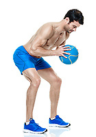 one caucasian man  exercising fitness Medicine Ball exercises isolated on white background