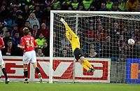 Fotball , 24 mars 2007 , EM - kvalifisering gruppe c, Norge – Bosnia , Norway <br /> Scoring: Thomas Myhre ,Norge går i nettet og Bosnia leder