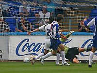 Photo: Andrew Unwin.<br />Hartlepool United v Leeds United. Pre Season Friendly. 22/07/2006.<br />Hartlepool's Eifion Williams (C) puts his team ahead with the first goal of the game.
