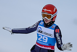 30.01.2016, Normal Hill Indiviual, Oberstdorf, GER, FIS Weltcup Ski Sprung Ladis, Bewerb, im Bild Juliane Seyfarth (GER) // Julina Seyfarth of Germany reacts after her Competition Jump of FIS Ski Jumping World Cup Ladis at the Normal Hill Indiviual, Oberstdorf, Germany on 2016/01/30. EXPA Pictures © 2016, PhotoCredit: EXPA/ Peter Rinderer