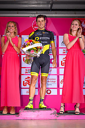 July 28, 2018 - Les Bons Villers, BELGIUM - French Romain Cardis of Direct Energie celebrates on the podium after winning the first stage of the Tour De Wallonie cycling race, 193,4 km from La Louviere to Les Bons Villers, on Saturday 28 July 2018. BELGA PHOTO LUC CLAESSEN (Credit Image: © Luc Claessen/Belga via ZUMA Press)