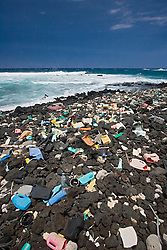 Marine debris from around the world washed up on these beaches at South Point due to strong wind and current, Big Island, Hawaii