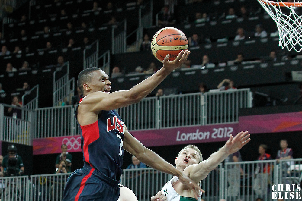 04 August 2012: USA Russell Westbrook goes for the layup during 99-94 Team USA victory over Team Lithuania, during the men's basketball preliminary, at the Basketball Arena, in London, Great Britain.