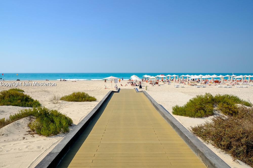 Public beach on Saadiyat Island in Abu Dhabi United Arab Emirates.