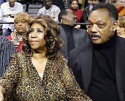 Aretha Franklin Died at 76 on August 16, 2018 - Aretha Franklin and Jessie Jackson attend the game between the Detroit Pistons and Miami Heat at The Palace of Auburn Hills in Auburn Hills, Mich., Friday, February 11, 2011. Photo by Kirthmon F. Dozier/Detroit Free Press/TNS/ABACAPRESS.COM