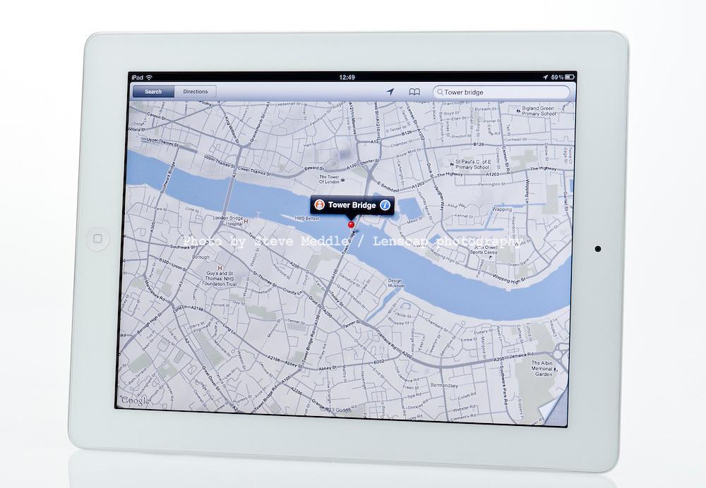 Apple Ipad showing Map App - Jan 2013.