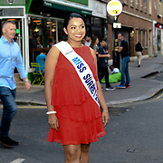Tiffany Bayliss of Miss Surrey 2018 attend the Macmillan - charity gala summer party at Pizza Express Dean Street on 8 August 2018, London, UK.