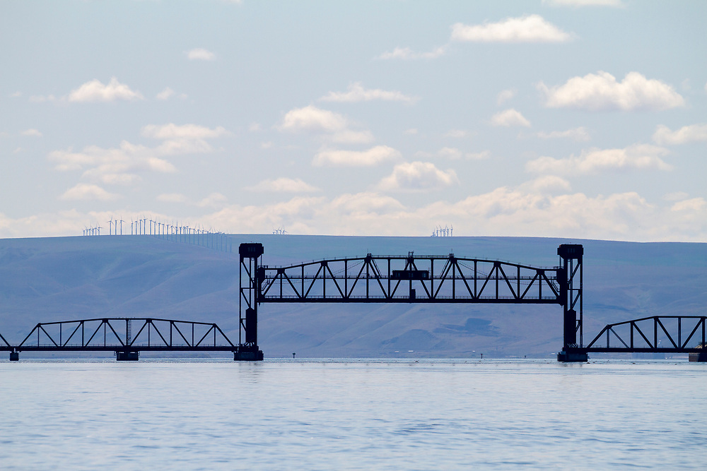 Railroad Over the confluence of the Snake and Columbia Rivers at Tri-Cities, Washington.  Licensing and Open Edition Prints.