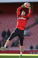 Goalkeeper Petr Cech of Arsenal during pre-match warm up before k/o.The Emirates FA cup, 4th round match, Arsenal v Burnley at the Emirates Stadium in London on Saturday 30th January 2016.<br /> pic by John Patrick Fletcher, Andrew Orchard sports photography.
