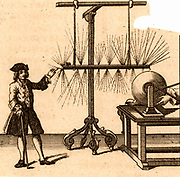 Experiment with static electricity by Jean-Antoine Nollet (1700-1770) French physicist and cleric.  An iron bar is suspended by silk cords about 6mm above the charged globe of an electrostatic machine.  The man places his finger the same distance from the bar and draws off a discharge visible in daytlight.  Engraving from 'The Complete Dictionary of Arts and Sciences' edited by TH Croker, Thomas Williams and Samuel Clark. (London, 1764).