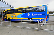 Stansted CityLink Express Coach bus service to Central London at bus station, Stansted airport, Essex, England, UK