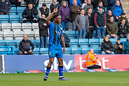 Gillingham FC forward Brandon Hanlan (7) shortly after scoring a goal (1-0) during the EFL Sky Bet League 1 match between Gillingham and Oxford United at the MEMS Priestfield Stadium, Gillingham, England on 9 March 2019.