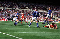 Ian Rush (Liverpool) scores goal no.2. FA Cup Final 1989. Liverpool v Everton. Credit: Colorsport / Andrew Cowie.