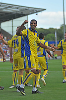 Photo: Tony Oudot/Richard Lane Photography.Colchester United v Leeds United. Coca Cola League One. 29/08/2009. <br /> Jermaine Beckford of Leeds celebrates his goal and Leeds' second