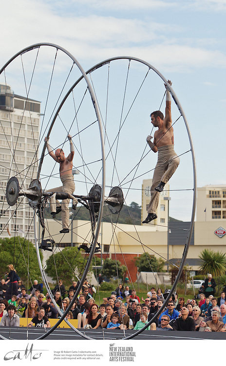 French trapeze artists Maxim Bourdon and Sebastien Bruas perform their show Arcane at Waitangi Park in Wellington, as part of the New Zealand International Arts Festival.