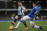 Daryl Janmaat (Newcastle United) and Bryan Oviedo (Everton) during the Barclays Premier League match between Everton and Newcastle United at Goodison Park, Liverpool, England on 3 February 2016. Photo by Mark P Doherty.
