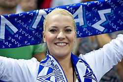Fan of Greece celebrates during the EuroBasket 2009 3rd place match between Slovenia and Greece, on September 20, 2009, in Arena Spodek, Katowice, Poland.   (Photo by Vid Ponikvar / Sportida)