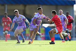 Henry Slade of Exeter Chiefs challenges Thomas Ramos of Toulouse - Mandatory by-line: Ryan Hiscott/JMP - 26/09/2020 - RUGBY - Sandy Park - Exeter, England - Exeter Chiefs v Toulouse - Heineken Champions Cup Semi Final