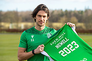 Joe Newell (#11) of Hibernian FC poses for the media after he signs a new contract with Hibernian FC at the Hibs Training Centre, Ormiston, Scotland on 26 February 2021, ahead of the SPFL Premiership match against Motherwell.