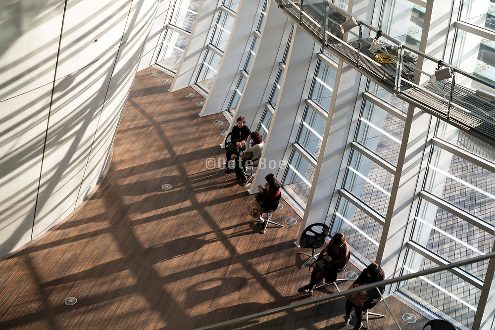 overhead view of the food court at the National Art Center, Tokyo in Roppongi